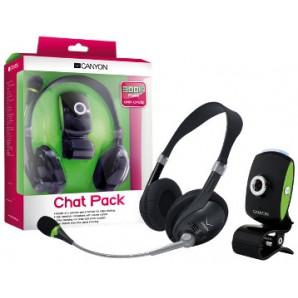 Chat Pack CANYON Camara Web 300K + Microfono C/Audifono Stereo Negro
